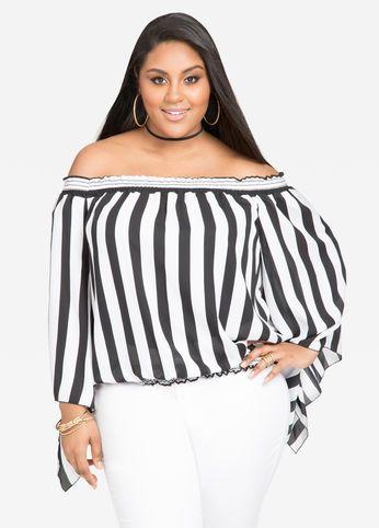 162226efcc3 Off-Shoulder Cotton Blouse | plus size fashion for women | Striped ...
