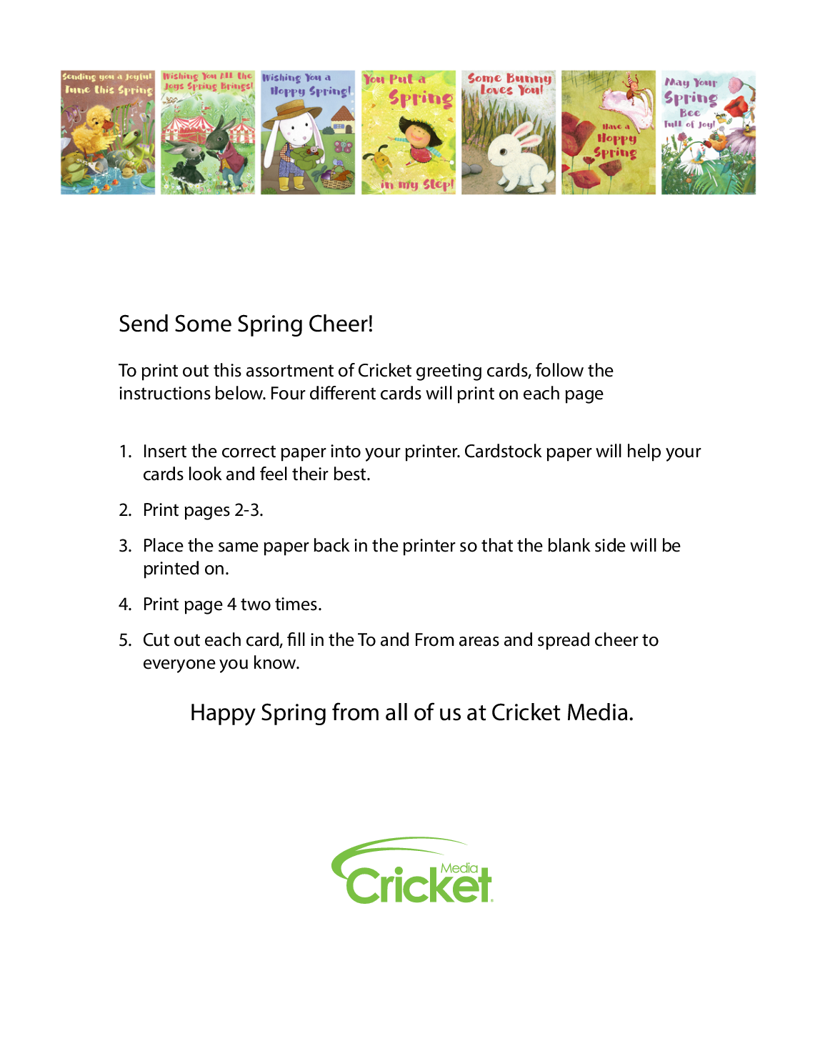 Send Some Spring Cheer To Print Out This Assortment Of Cricket