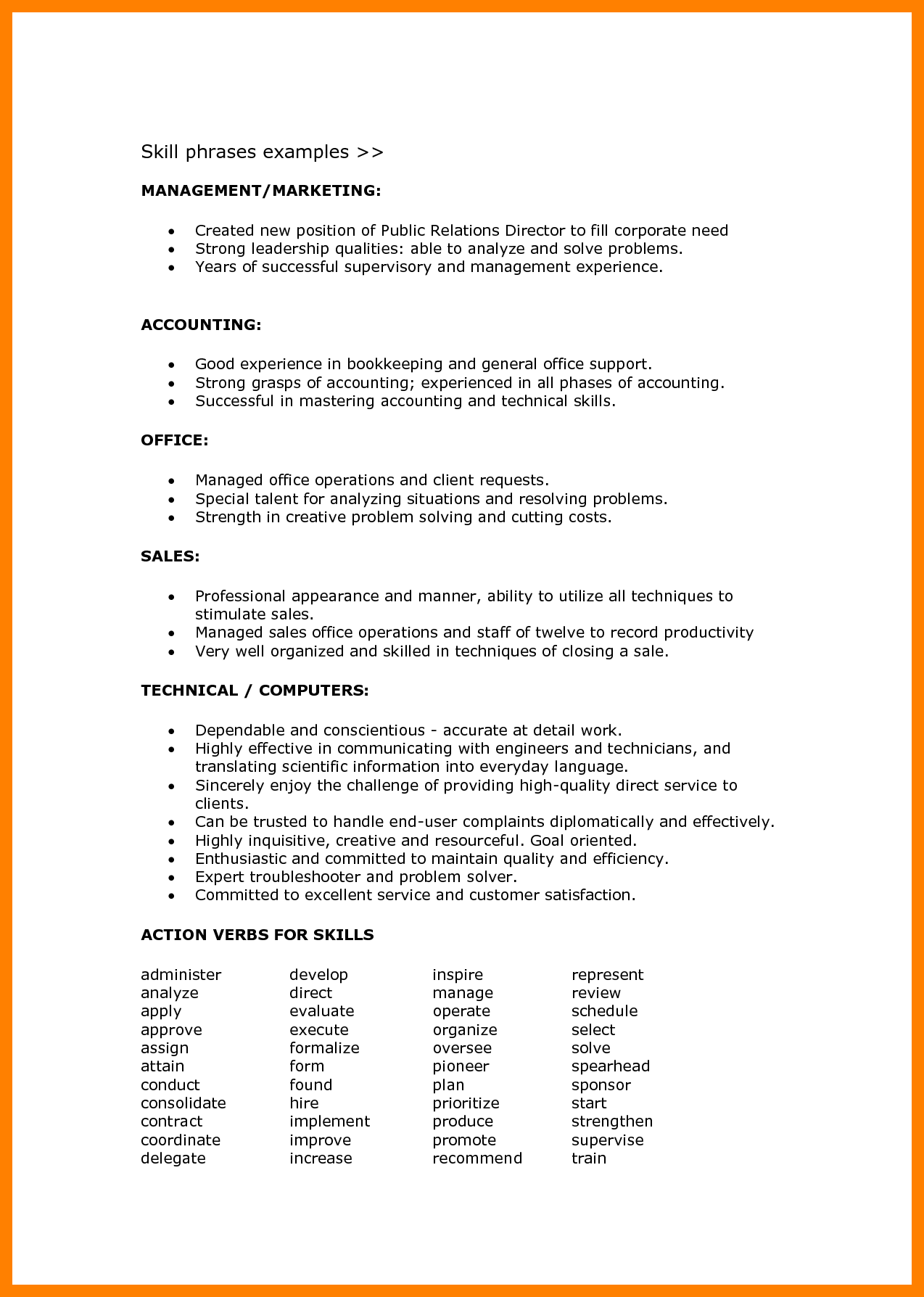 Sample Resume Language Skills Resume Format Skills Project Management Resume Examples