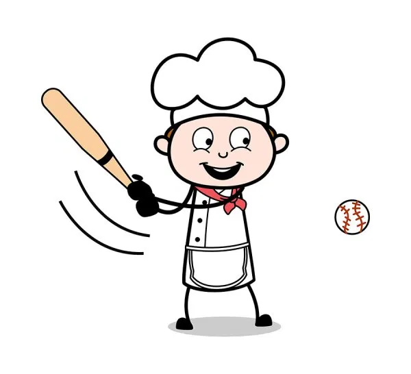 Playing Baseball Game Cartoon Waiter Male Chef Vector Illustration Free Download Cartoon Clip Art Cartoon Cartoons Vector
