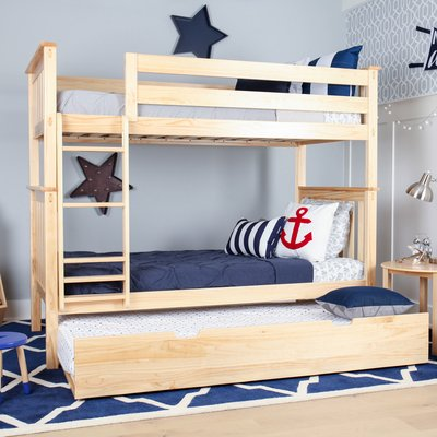 Harriet Bee Walters Twin Over Twin Bunk Bed With Trundle Bed Frame Color Twin Bunk Beds Bunk Bed With Trundle Cool Bunk Beds Twin over twin with trundle