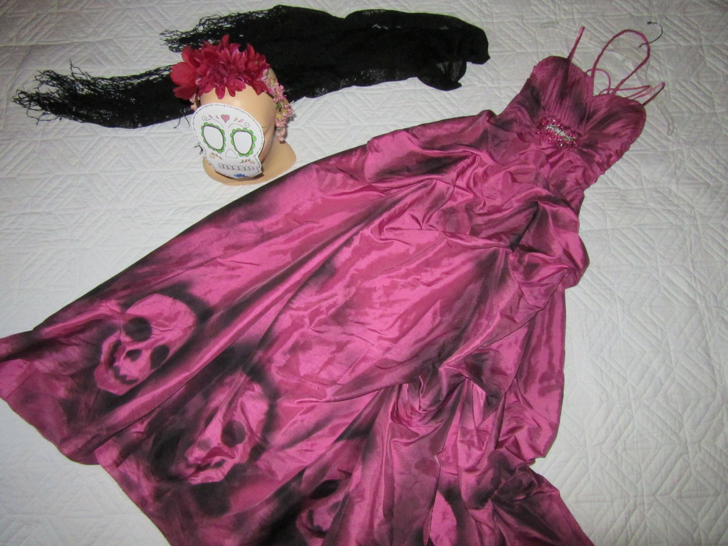 Day of the Dead corpse bride Costume dress womens size 10 unique Halloween Dia…