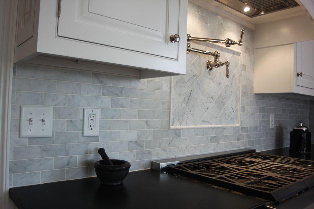 bianco carrara marble backsplash
