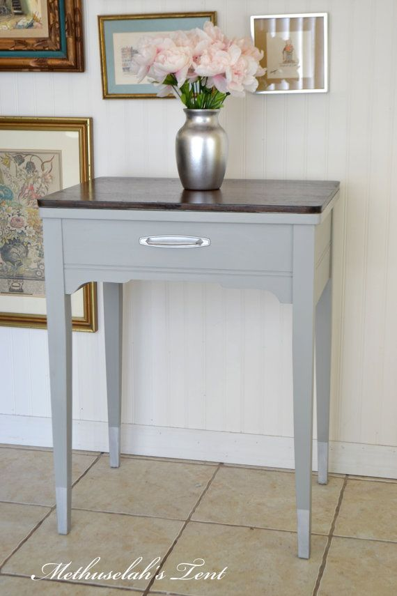 Grey chalk paint mid century modern gray sewing