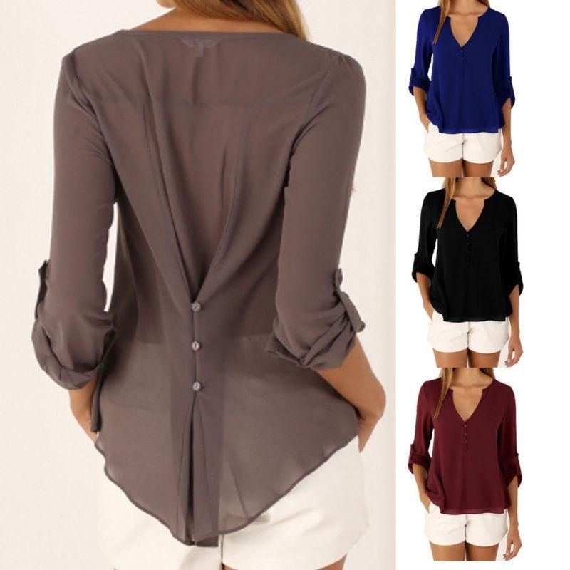 467e3ad8654f Fashion Women Ladies Long Sleeve V Neck Blouse Casual Summer Shirt Loose  Tops