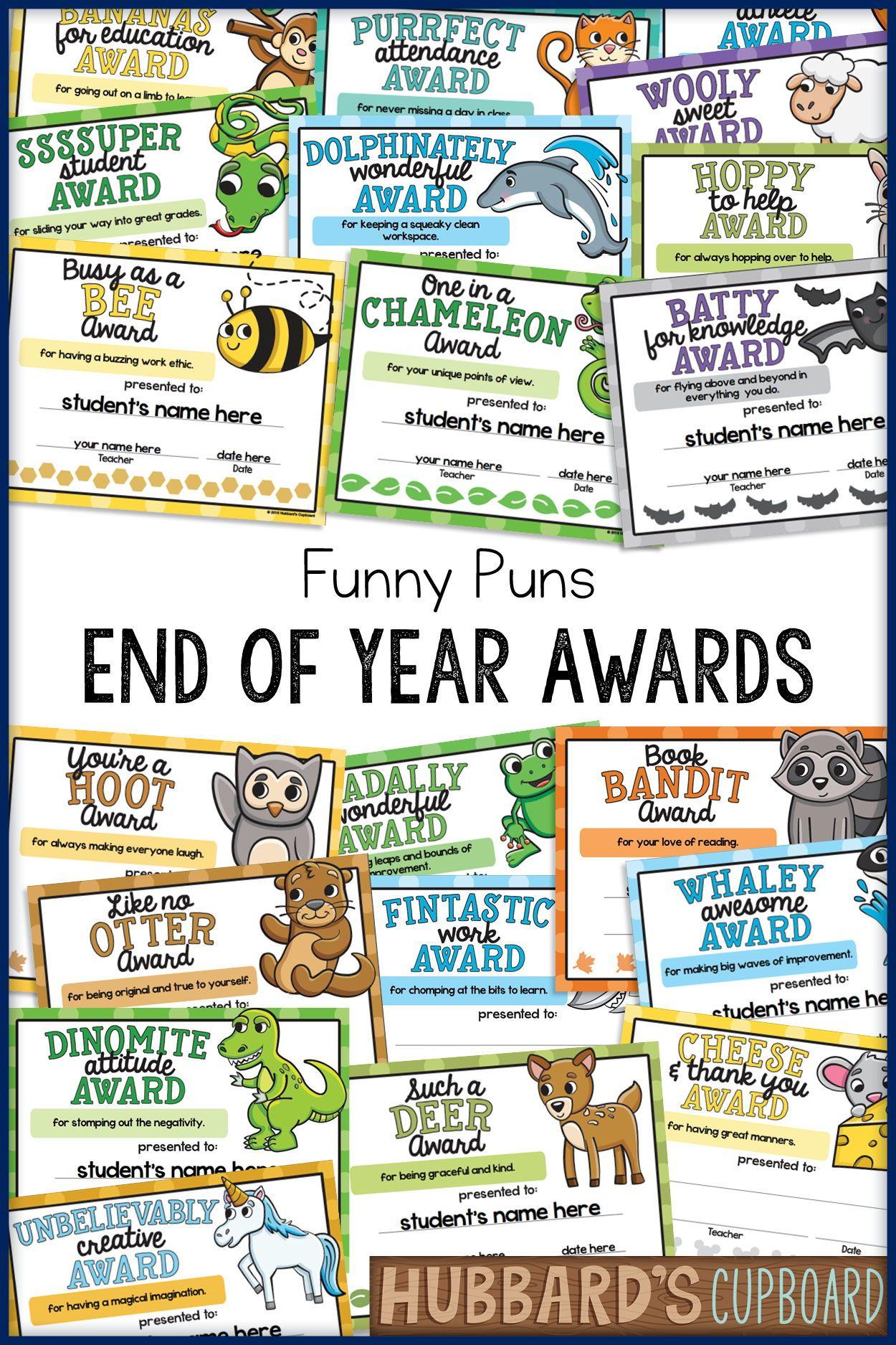 End Of The Year Awards Editable Animal Puns Classroom Awards