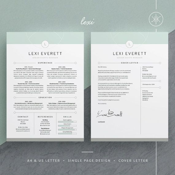 Lexi Resume\/CV Template Word Photoshop InDesign - adobe indesign resume template