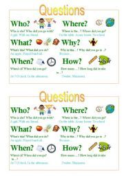 English worksheets: who what when where why whose