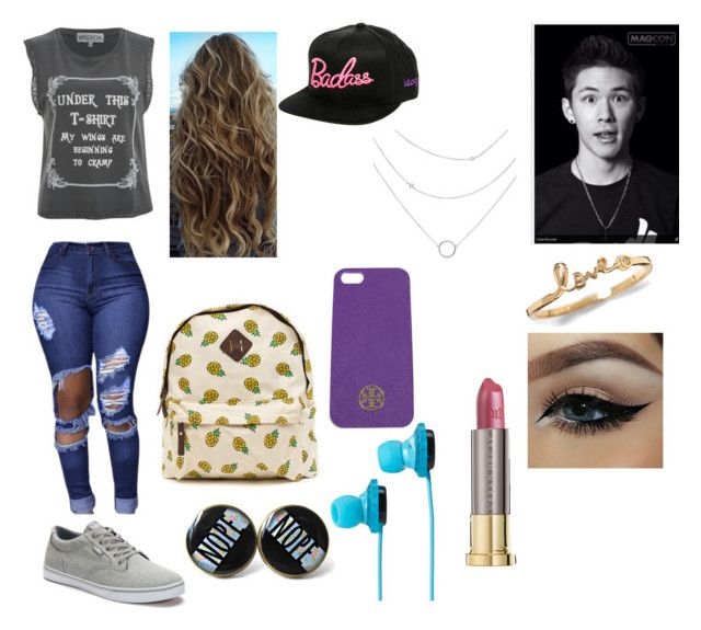 """Going to school and seeing your crush Carter Reynolds"" by annabroome on Polyvore featuring beauty, Wildfox, Tory Burch, Vans, Urban Decay and SOL Republic"