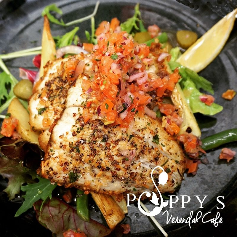 Quinoa & Coconut Crusted Barramundi with Baked Kipfler Potato, blanched Green Beans & Dill Salad with Avocado Tomato Salsa (Gluten Free) at Poppy's Verandah Cafe!
