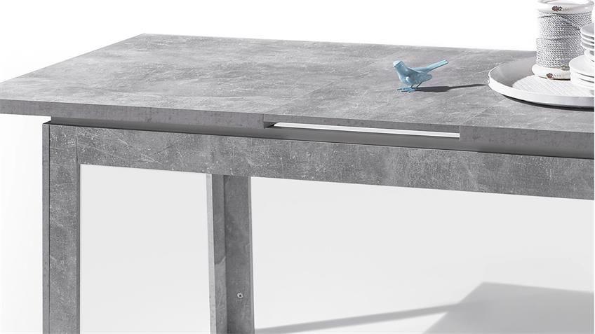 Esstisch STONE Tisch Beton Optik grau und weiß Hochglanz