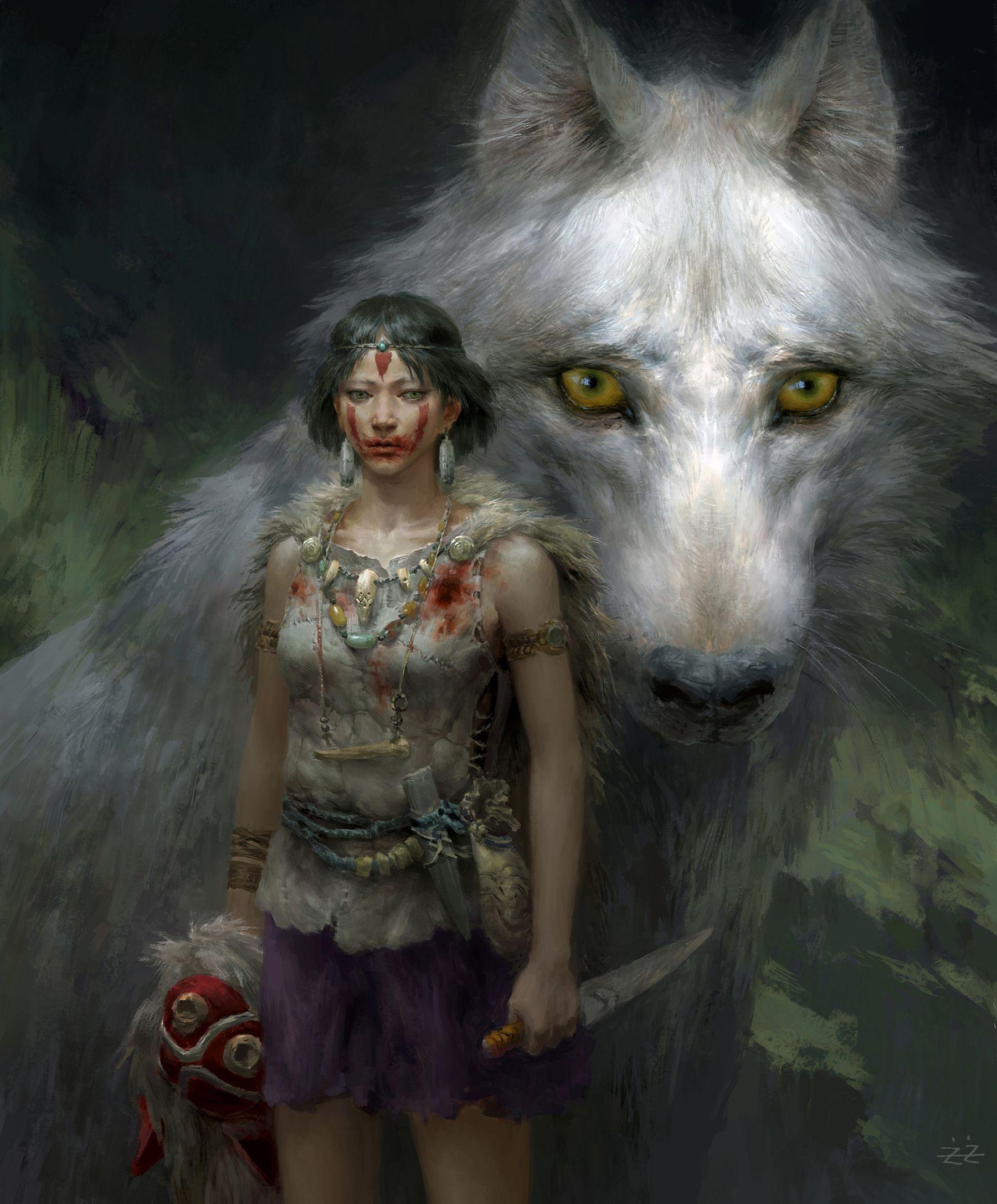 Princess Mononoke by FLOWERZZXU giant wolf spirit dagger