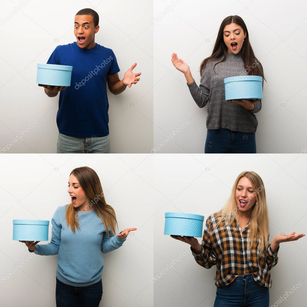 Collage People Holding Gift Box Hands  Stock Photo