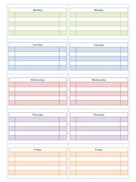 two week calendar template word