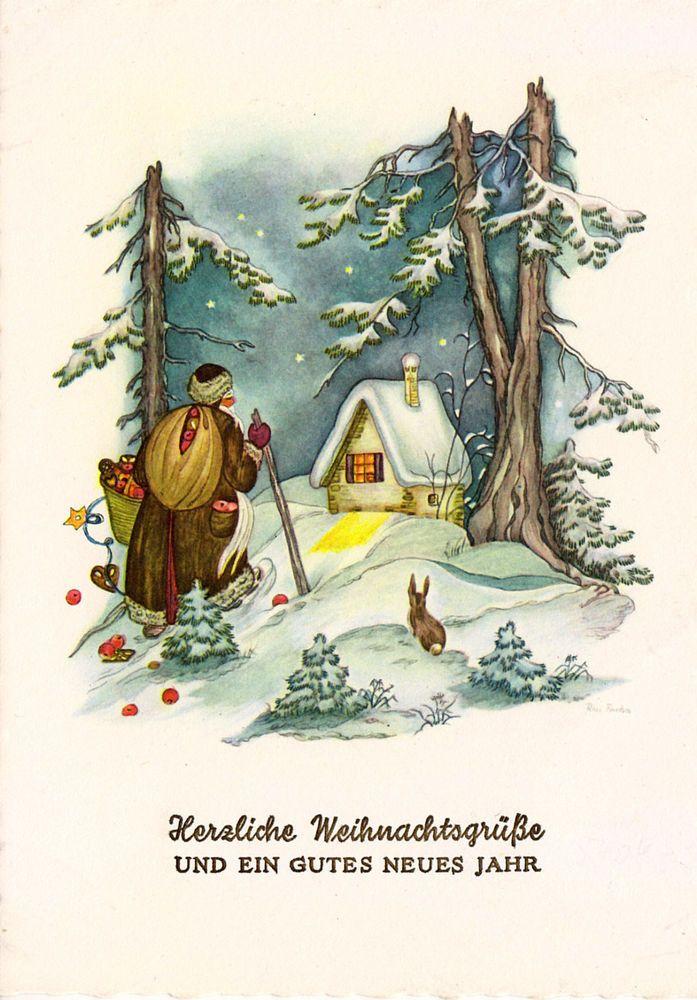 AK - Weihnachten - Rosi Fischer - Weihnachtsmann auf Wanderschaft