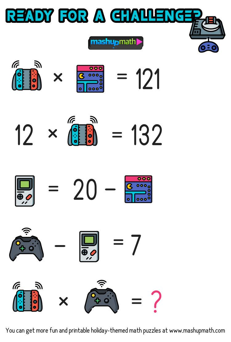 Math Video Games Puzzles for Grades 1-6: Are Your Kids Ready? — Mashup Math    Maths puzzles [ 1108 x 750 Pixel ]