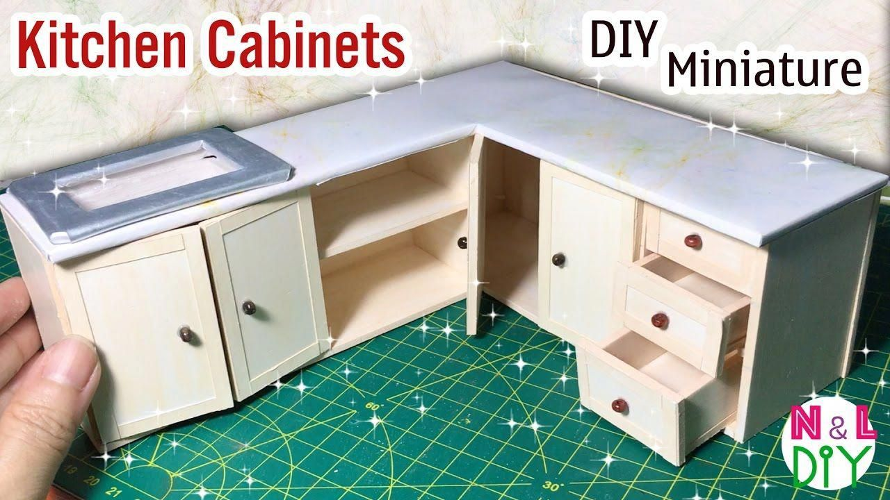 Diy Miniature Kitchen Cabinets How To Make Kitchen Cabinets For Dollhouse Barbiestuff How To Make Kitchen Cabinets Barbie Kitchen Diy Dollhouse Furniture