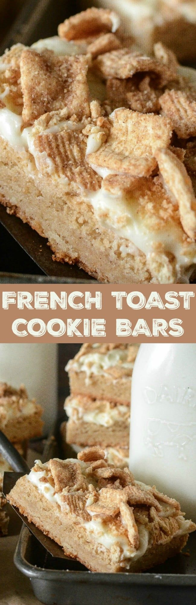French Toast Cookie Bars: a layer of chewy maple sugar cookies are frosted with sweet vanilla cream cheese and sprinkled with a layer Cinnamon Toast Crunch! #cinnamontoastcrunch