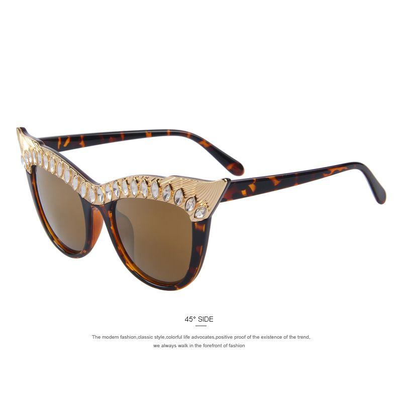0b30426ae4 Merry's mode femmes Cat eye lunettes de soleil femmes luxe Hyperbole strass  décoration lunettes de soleil