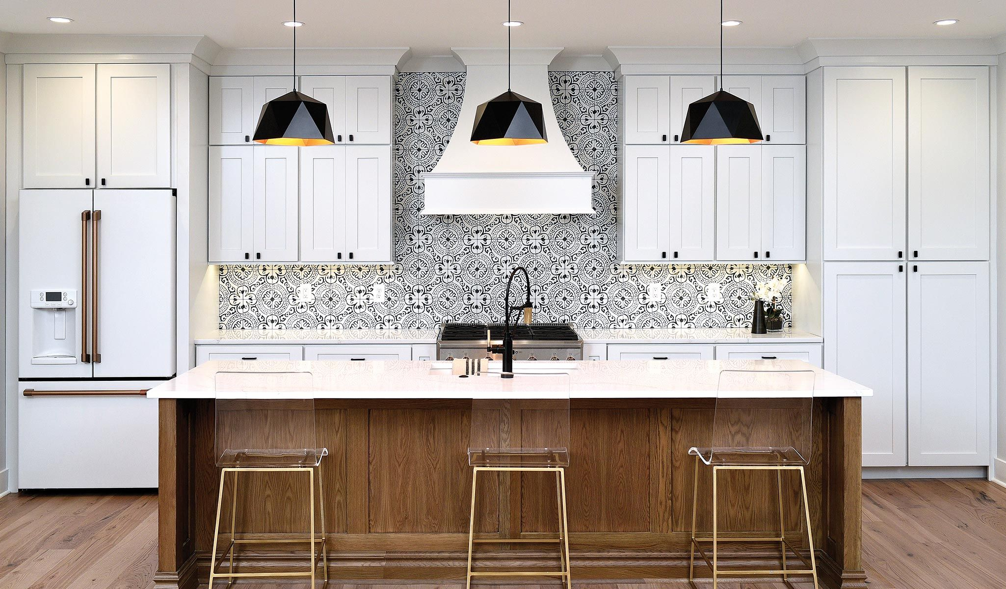 White Kitchen Cabinets With Natural Vintage Island In 2020 Custom Kitchen Cabinets Kitchen Gallery Custom Kitchen