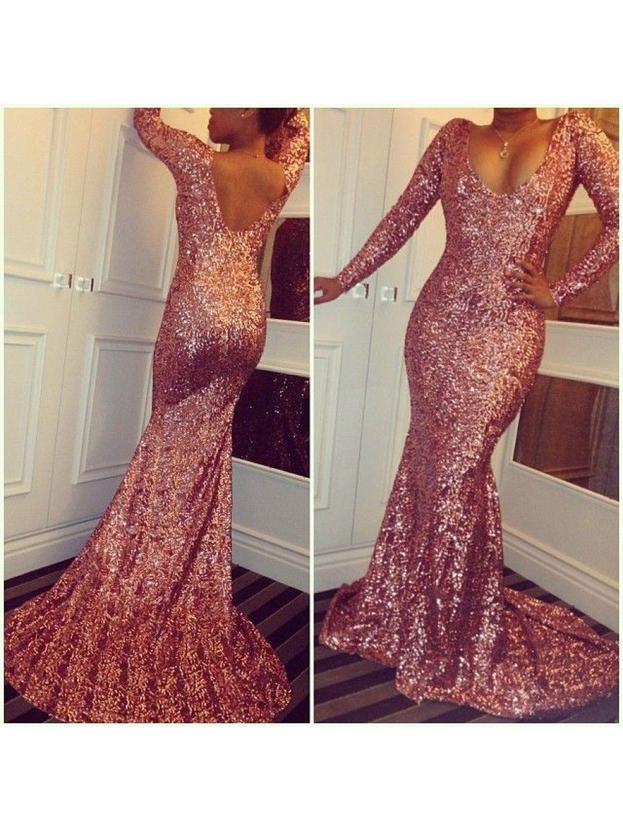 Mermaid sequins long sleeves prom formal evening party dresses
