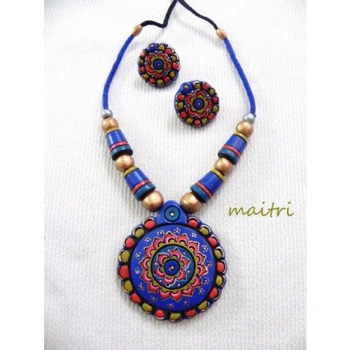 Terracotta Jewellery_The Royal Blue Love - Online Shopping for Necklaces by Maitri Crafts