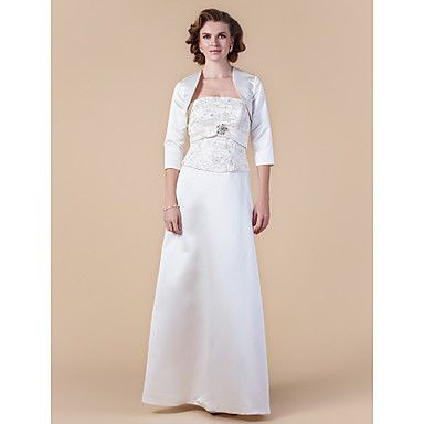 Sheath/Column Strapless Floor-length Satin Mother of the Bride Dress With A Wrap – USD $ 249.99