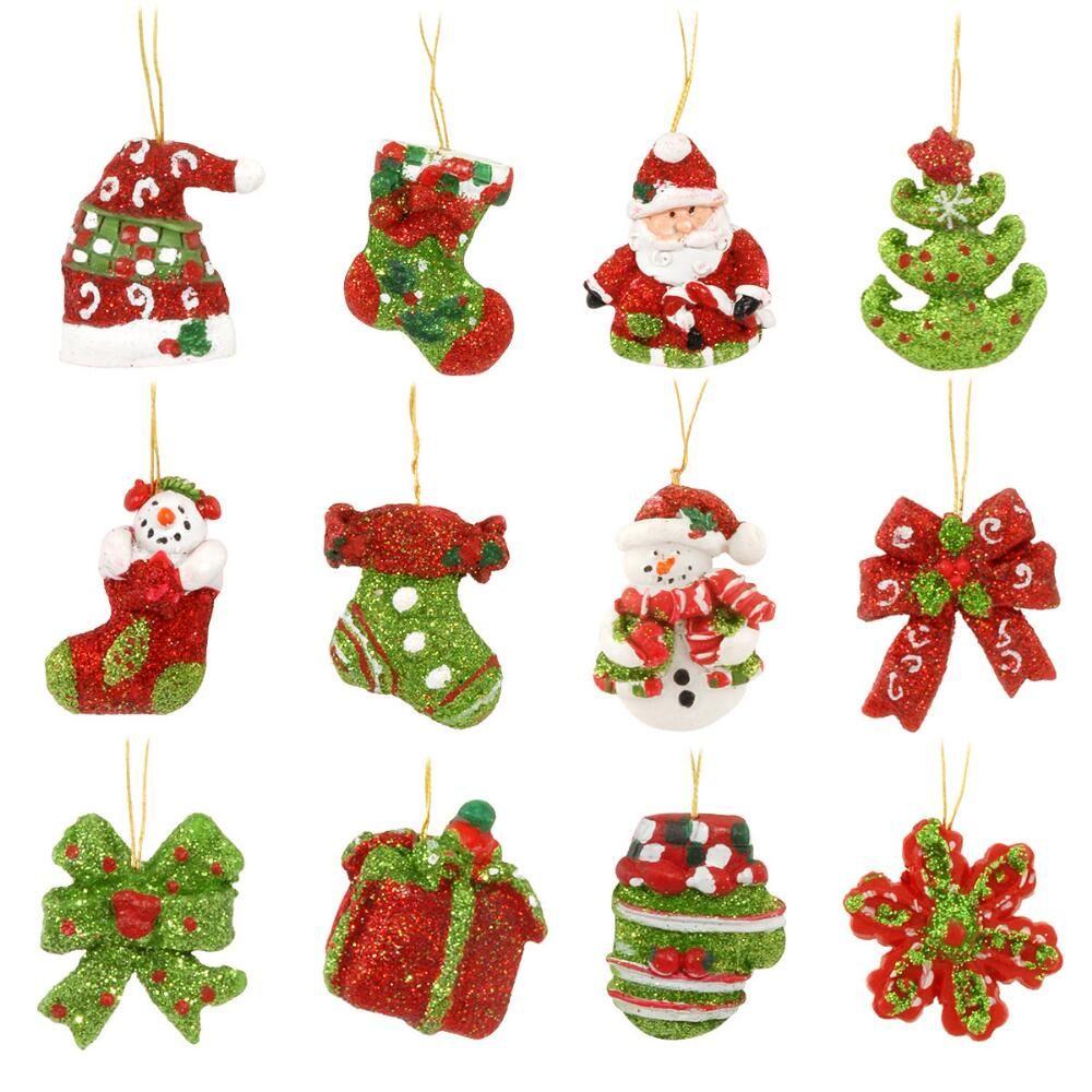 Set Of 12 Miniature Resin Ornaments Christmas Ornaments Sale Handmade Christmas Ornaments Miniature Christmas