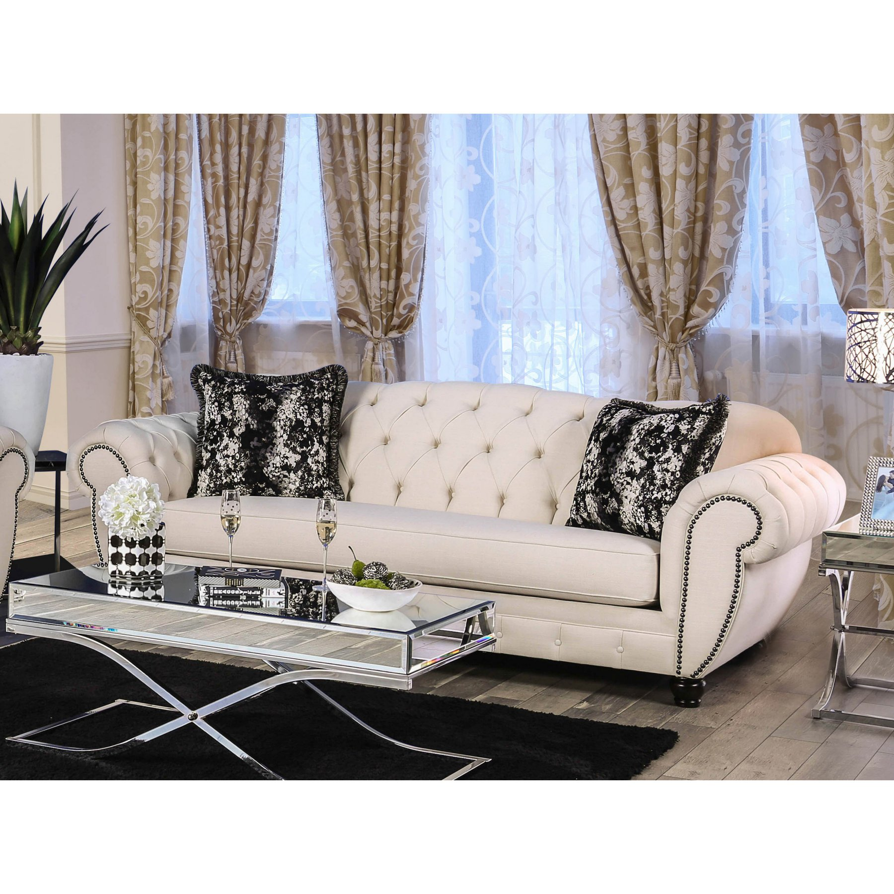 Furniture Of America Reyna Button Tufted Chesterfield Sofa Idf