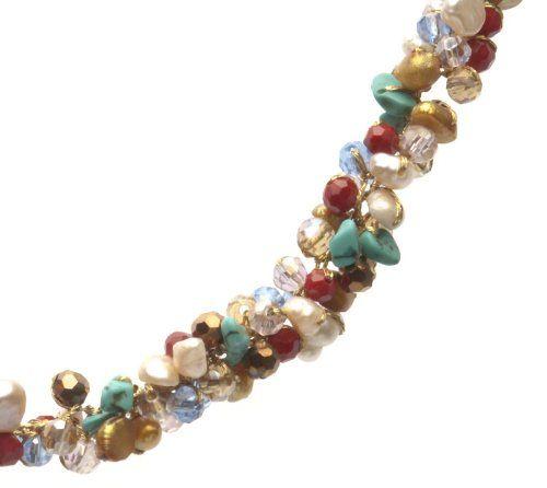 Oi! - N2880/E2880 - Parure Boucles d'Oreille et Collier Femme - Perle/Cristal/Turquoise - Perle d'eau douce: Amazon.fr: Bijoux