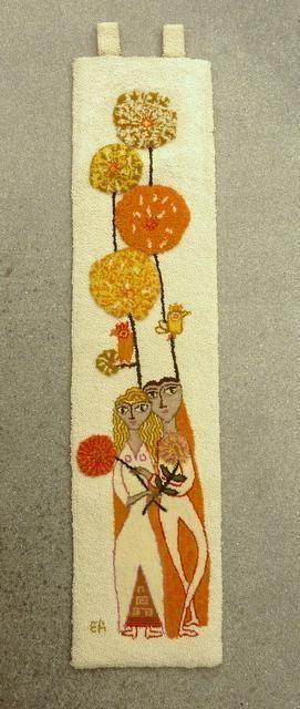 Mid Century Evelyn Ackerman ERA Wedding Hooked Rug Wall Hanging Art ...