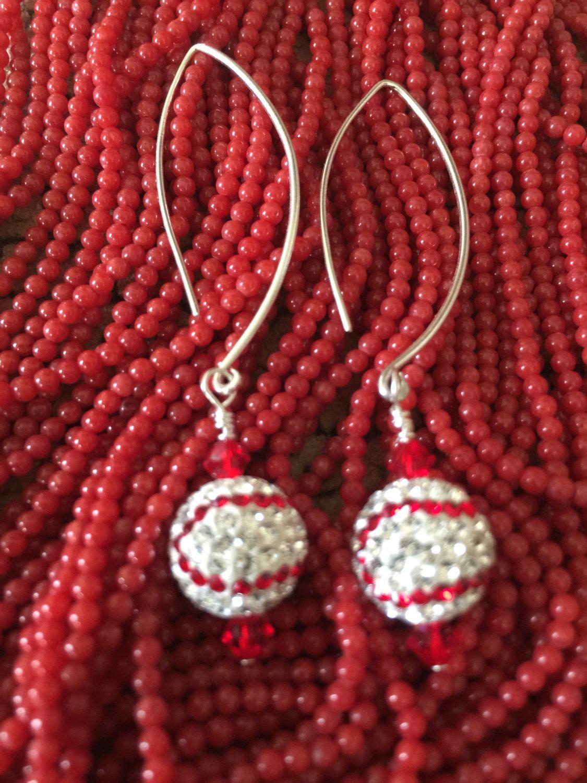 Baseball Swarovski Sterling Silver Earrings By Beadingsista On Etsy Baseball Earrings Earrings Sterling Silver Earrings