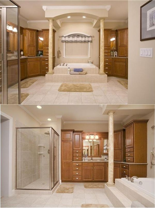 A side for Him. A side for Her. Separated by an absolutely elegant bathtub. Repin if you love.