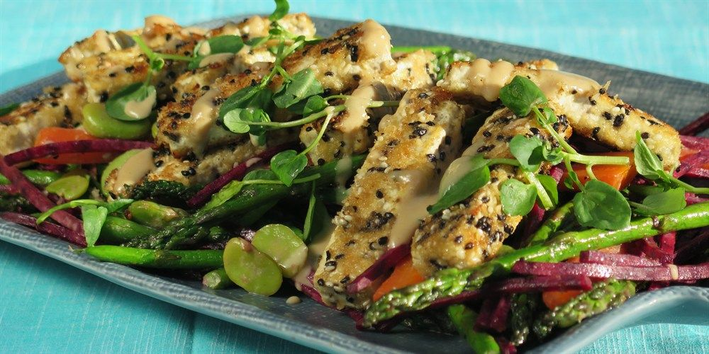 Try this Sesame Crusted Tofu Salad recipe by Chef Paul West . This recipe is from the show River Cottage Australia.