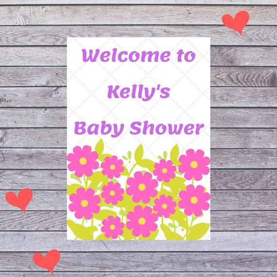 Baby Shower Greenery Poster, Girl Birthday Party, Party Decoration, Printable Poster, Instant Download, Personalized Poster, Poster Board
