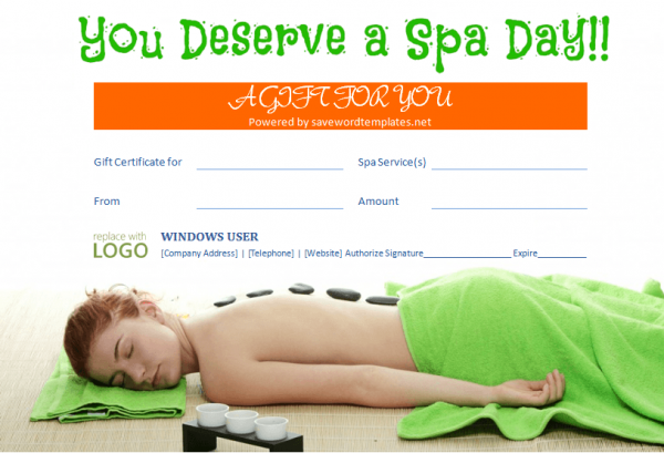 Spa gift certificate gift certificate templates pinterest free gift certificate templates from save word templates yadclub Images