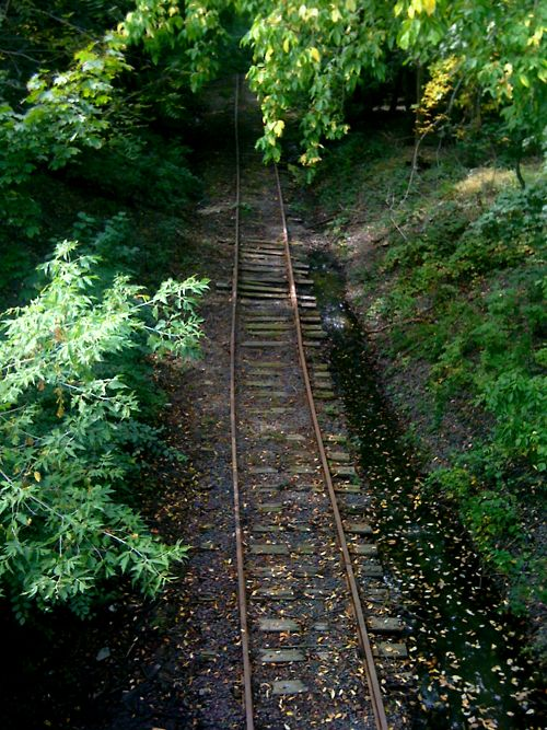 Abandoned railroad track near Fresh Pond