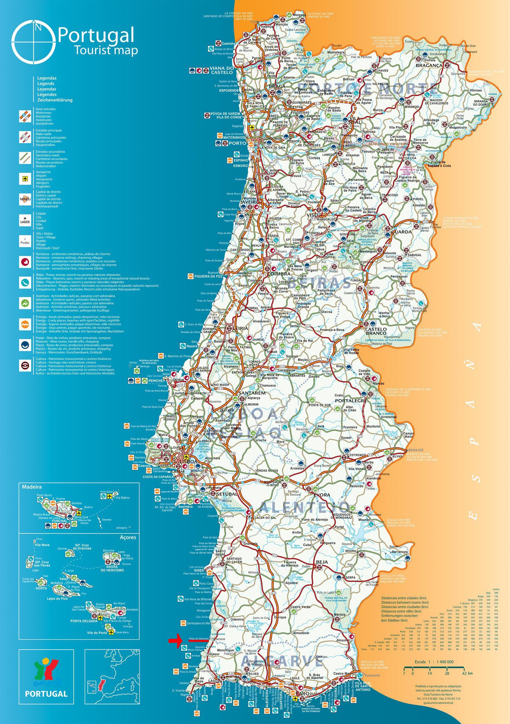 Mapa Portugal Jpg 1759 2500 Viajes Portugal