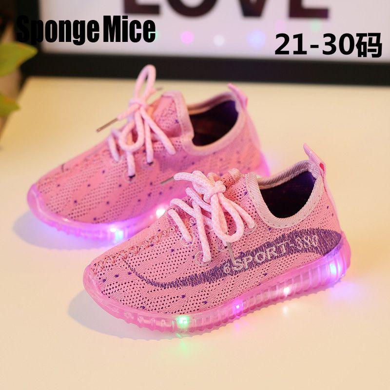 07417be56aa9d sponge mice Eur21-30 Children Shoes With Light Led Enfant Sneaker Girls  Sports Breathable Boys Light Baby Shoes Kids D014  Affiliate