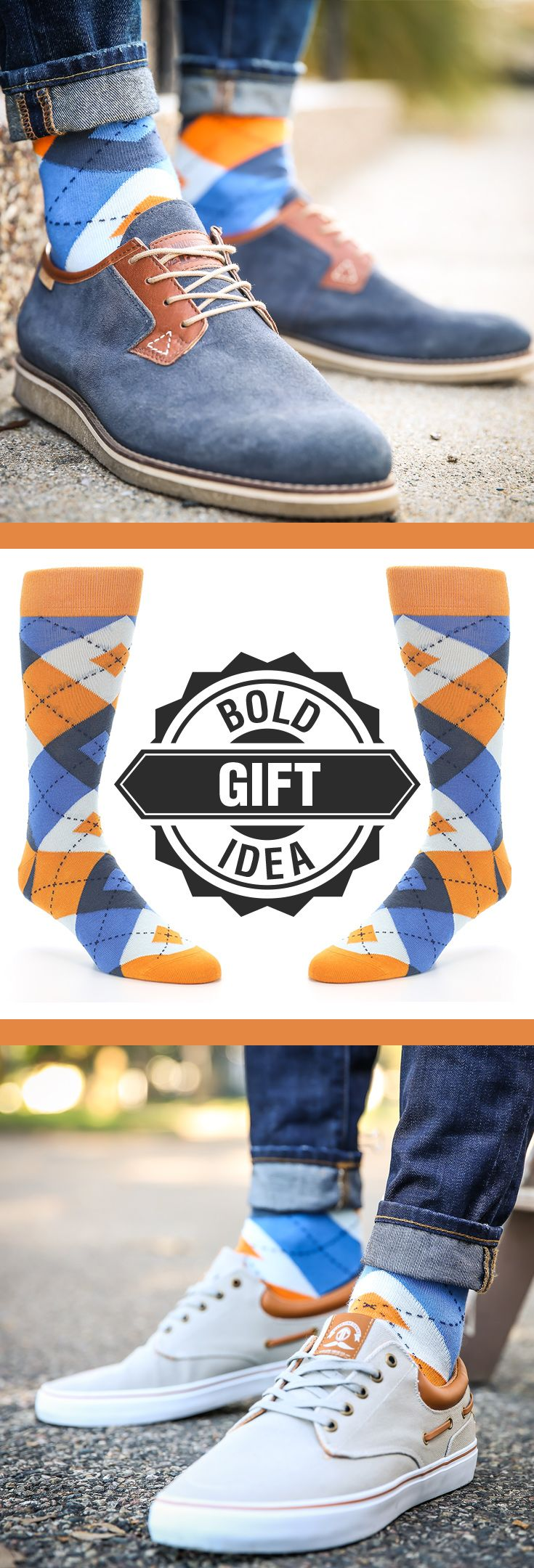 Socks are a sure thing for the holidays. If you have someone with a bold personality, consider some statement orange and blue argyle socks. Shop these socks and more.  c/o Wolverine Worldwide and Radii