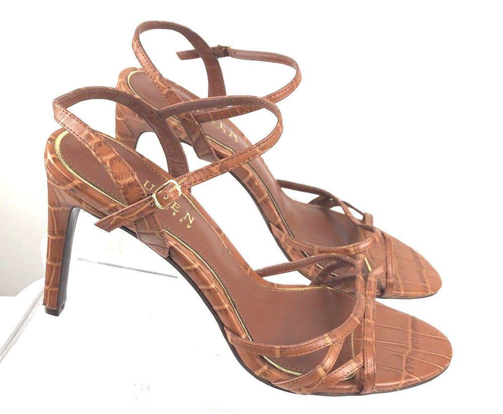 630305310d38b5 Lauren Ralph Lauren Brown Leather Strappy Sammy Slingbacks Size 8B Heel  Shoes  LaurenRalphLauren  Slingbacks  CasualDress