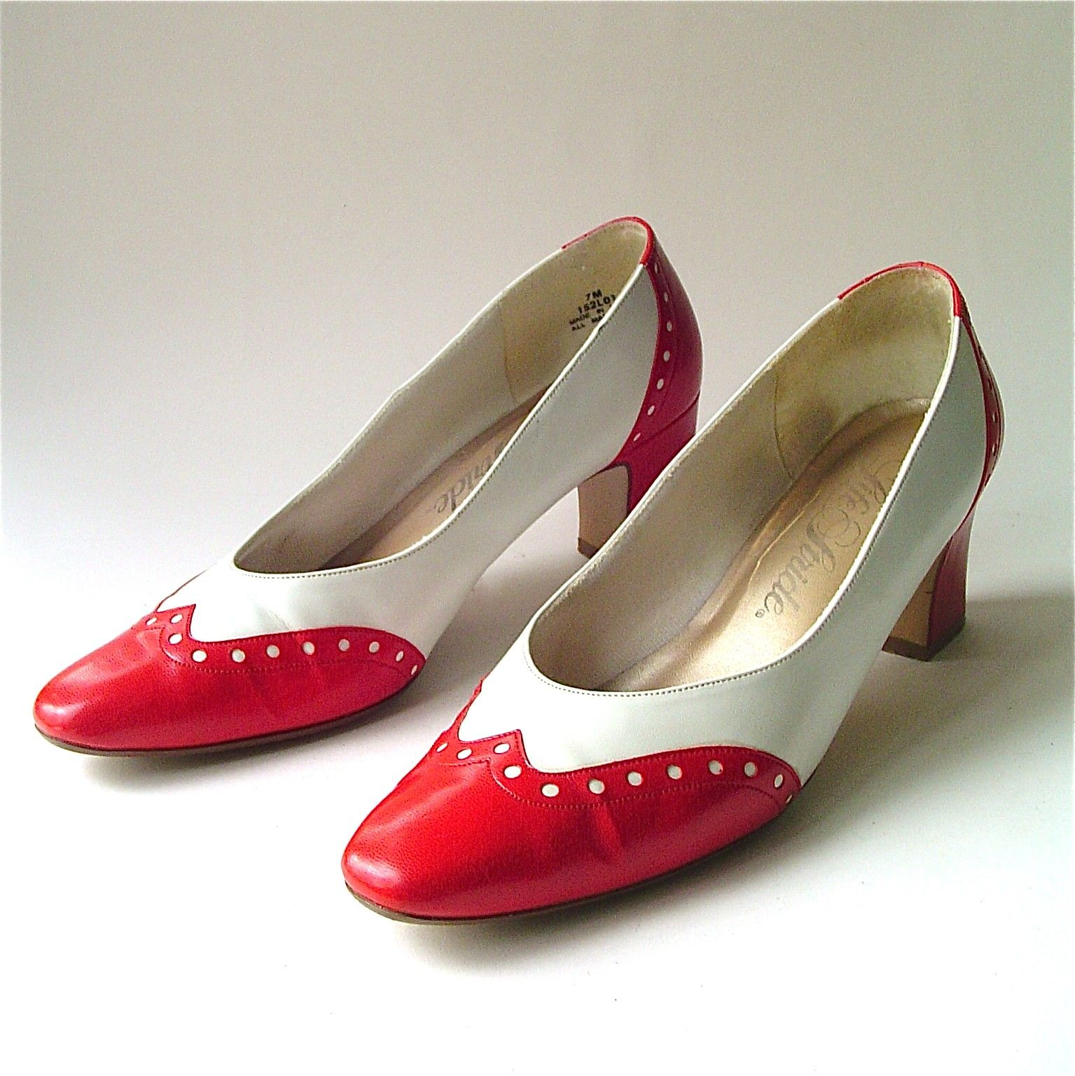 4bfa940fa4c12 vintage spectator pumps | vintage Red and White Spectator Pumps by ...