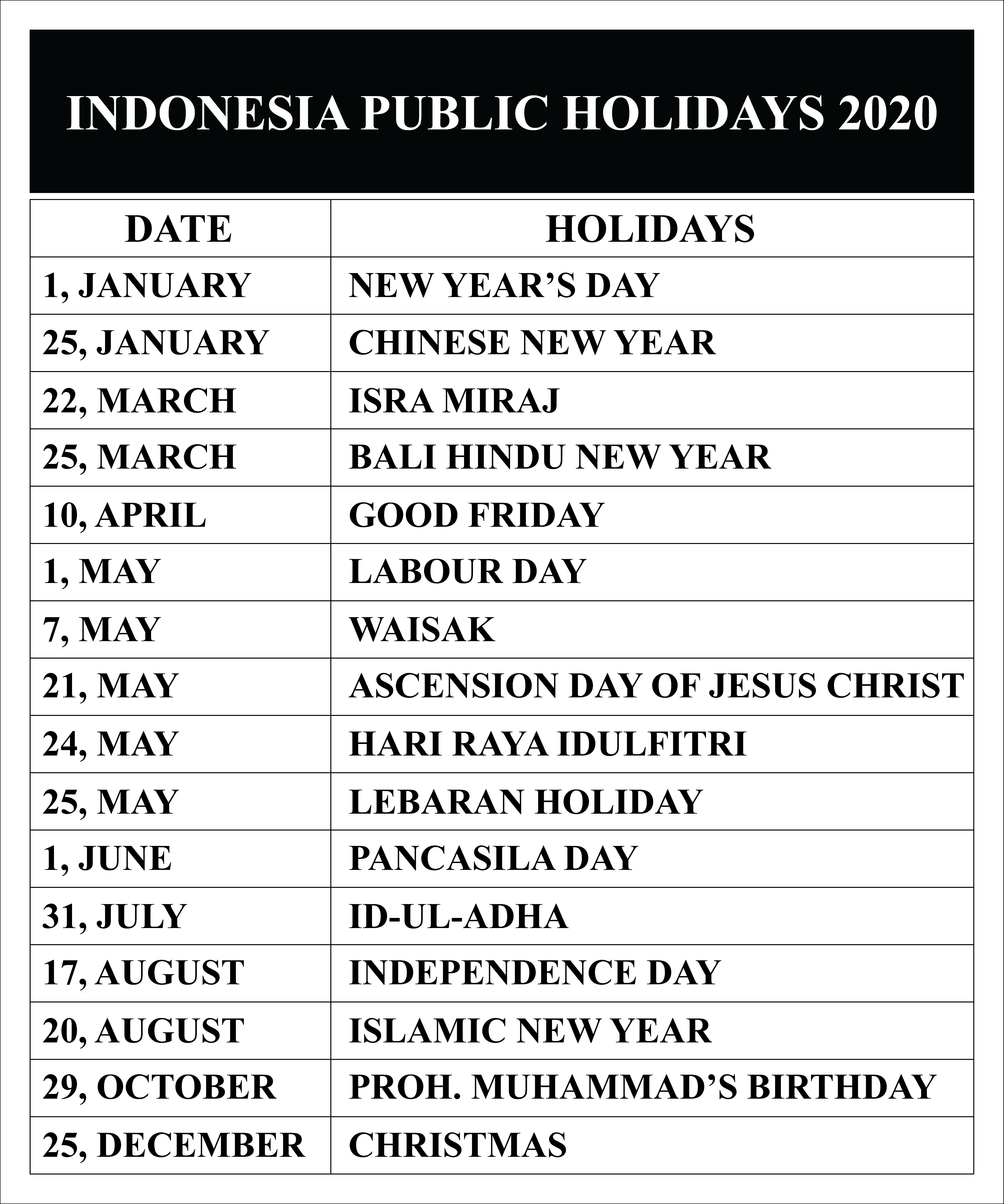 Free Blank & Printable Indonesia Public Holidays 2020