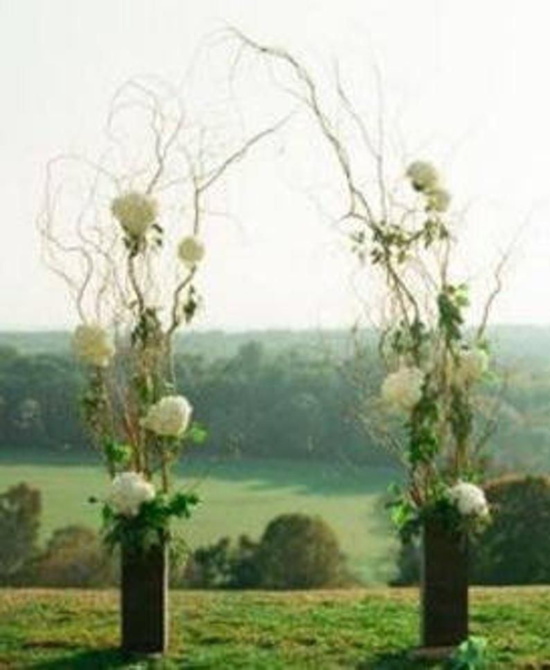 Curly Willow Wedding Arch With Vases In 2020 Curly Willow Wedding Wooden Wedding Arches Wedding Arch