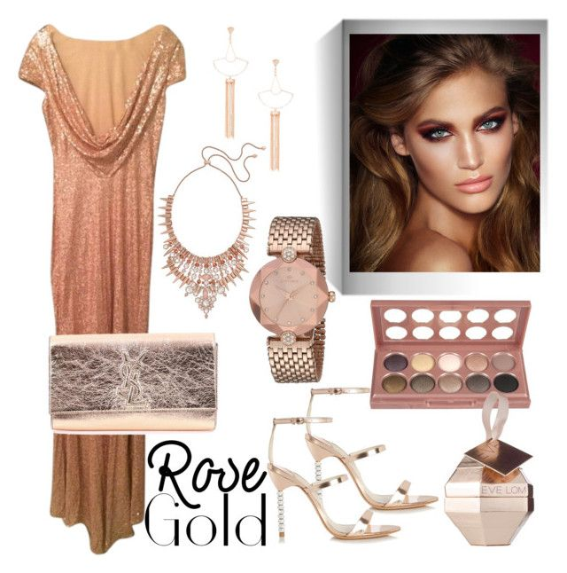 """""""Rose Gold"""" by susans-sg ❤ liked on Polyvore featuring Charlotte Tilbury, Kendra Scott, NYX, Sole Society, Badgley Mischka, Sophia Webster, Eve Lom and Yves Saint Laurent"""