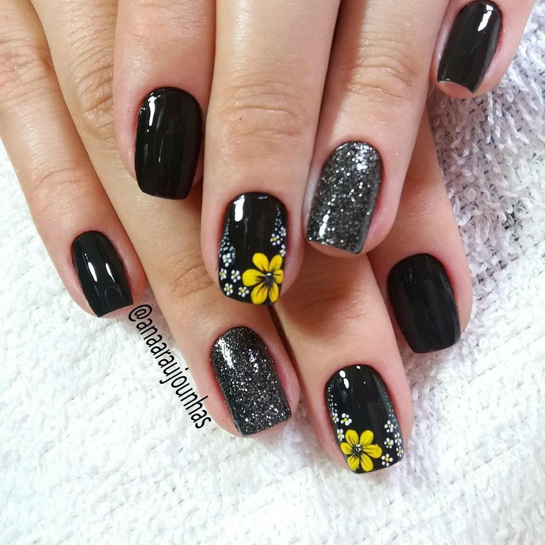 Beau Ongles Pretty Nails With Yellow Flower Sunflower Nail Art Design