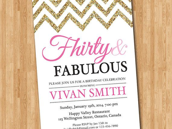 30th Birthday Invitation Women 30 And Fabulous Glitter Glam Chevron Pink Purple Blue Any Color Printable Digital DIY