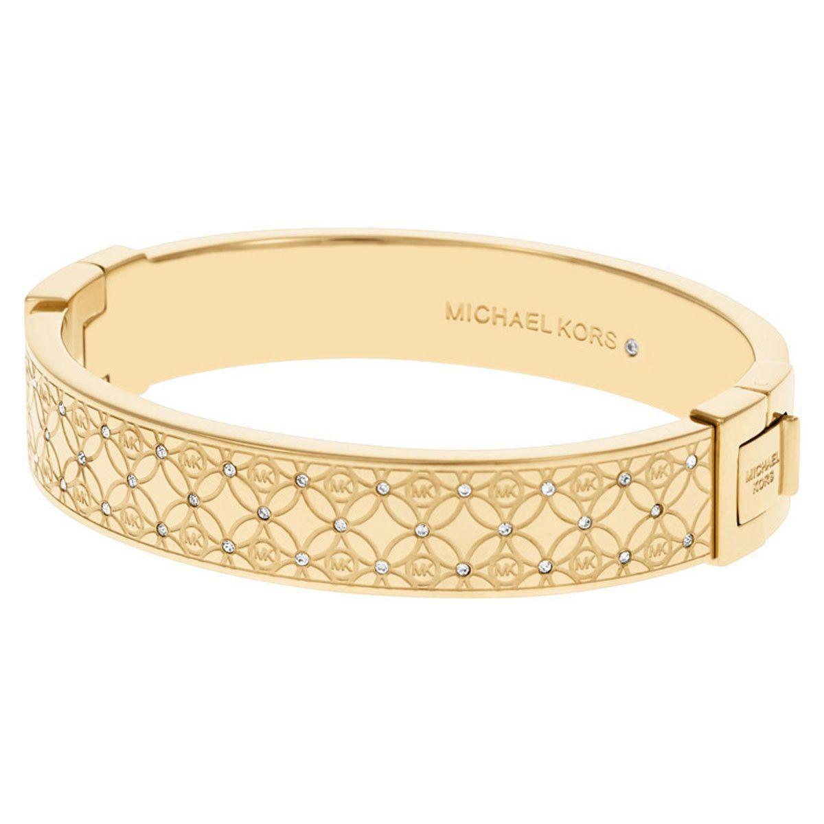 Michael kors mkj womenus monogram gold tone steel crystal
