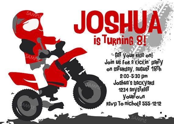 Motocross Invitation for Birthday Party Motorcycle by PixelParade – Motocross Birthday Invitations
