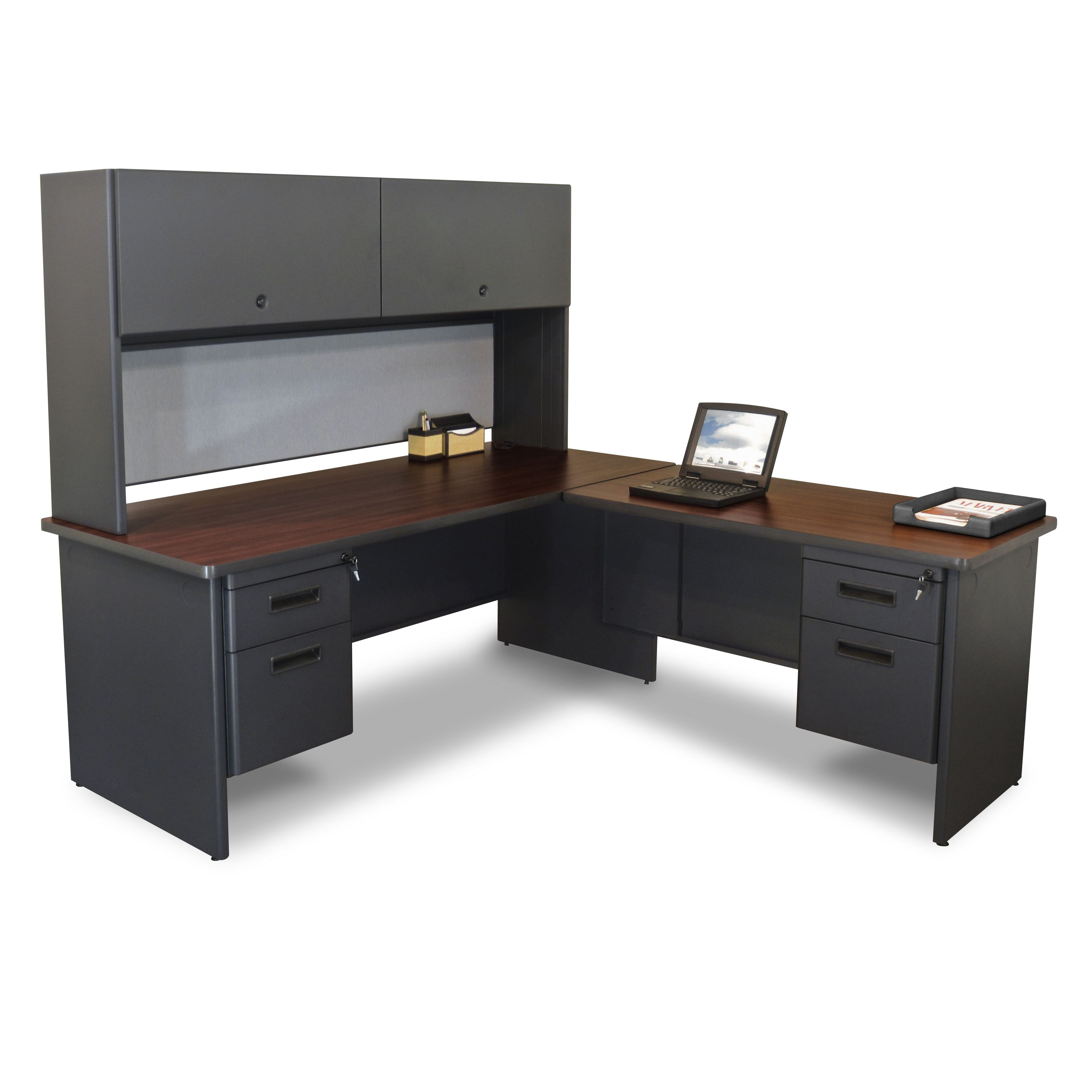Large Black L Shaped Office Desk With Hutch Two Cabinets And Hanging  Drawers. Elegant Office Desks Designs With Smart Hutch Ideas. Custom Decor  Awesome Home ...